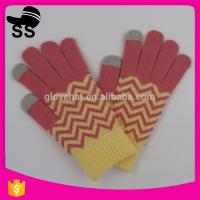 2017 Wave Pattern Jacquard 90%Acrylic 5%Spandex 5%Conductive fiber Winter Knitting touch screen gloves 10*21cm 50g Manufactures