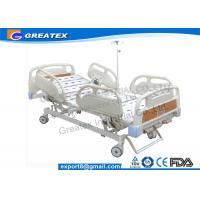 Folding adjustable Manual Hospital Bed / Three crank hospital bed PP materials , ABS Manufactures