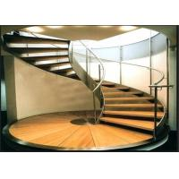 Painted Finish Antique Building Curved Stairs With White Walnut Wood Tread Manufactures