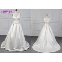 China Gorgeous White Long Female Wedding Dress , Zipper Back Satin Wedding Gown on sale