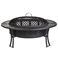 Outdoor Garden leisure party New steel table fire pit with screen and cover Manufactures