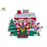 Red / White Color Inflatable Bouncy Castle House With Christmas Tree For Business Manufactures