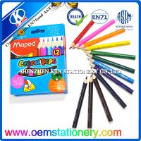 Triangle Wooden Colored Pencils Set In Paper Tube ,Mini Golf Pencil 8.8cm Manufactures