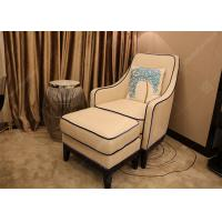 Luxury Customized Hotel Lounge Chairs High Back Wooden Frame Grey High Density Foam Manufactures