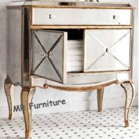 China American Style Mirrored Night Stands Table With 2 Doors Beveled Edge Mirror on sale