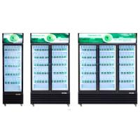 Double Layer Single Glasses Door Upright Display Freezer For Water And Drink Chiller Promotion Manufactures