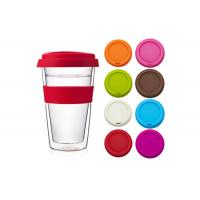 Custom Logo Double Wall Glass Cup With Colorful Silicone Sleeve Lid For Beverage Manufactures