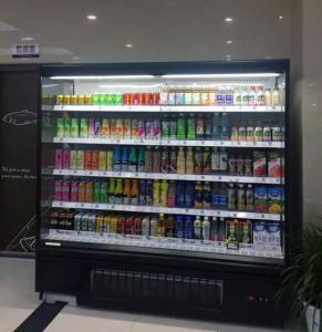 Heavily Loaded Shelf Open Display Fridge , Open Chiller Supermarket Showcase
