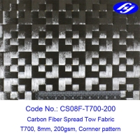 Corner Pattern T700 12K Toray Carbon 8mm Spread Tow Fabric Manufactures