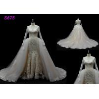 China Long Sleeves lace application detached train mermaid wedding dresses on sale