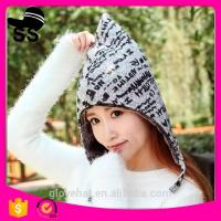 2017 new design china wholesale knit bomber winter earflap hats Trapper with letter 24*35cm 100% Polyester 95g thick 4 Manufactures
