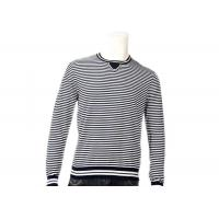 Striped Jumper Modern Mens Knit Sweater Winter Cotton Long Sleeve In Grey Manufactures