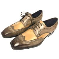 Iron Woven Mens Woven Leather Lace Up Shoes Pointed Toe Flats Mens Brown Wedding Shoes Manufactures