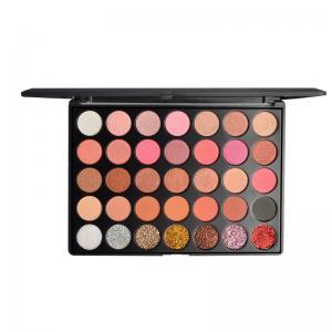 Buy cheap Wholesale 35 color eyeshadow palette OEM shimmer glitter eyeshadow makeup from wholesalers