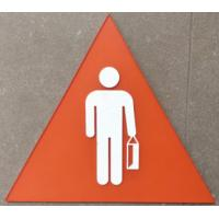 """Triangle 10.4""""X9"""" Braille Toilet Signs 1/4"""" Clear Acrylic Face Panel Straight Edge Manufactures"""