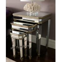 Cheap 3 Set Mirrored Side Tables For Bedroom , Silver Modern Mirrored Furniture for sale