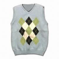 China Men's Sweater Vest with 12GG Gauge and 100% Cotton Material, OEM Services are Provided on sale
