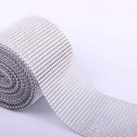 China 24 rows diamond crystal silver mesh net 10 yards roll for wedding cake box on sale