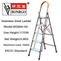 En131 5 Step 3.8ft Stainless Steel Folding Ladder Manufactures