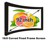 """Curved Fixed Frame Matt White Projection Screen 92"""" 16:9 Ratio 1080p Projector Screens Manufactures"""