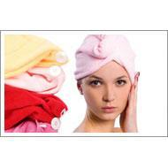 Microfiber hair-drying hat
