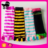 2017  Cheap Assorted Packed 69% Cotton 25 % polyester 6%spandex Striped Colorful Christmas Stockings Five Toes Socks Manufactures