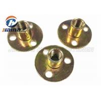 Cheap Zinc plated Round Base T Nut With Three Brad Hole , Tee Nuts Or Furniture Nut for sale