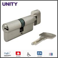 Flat Key Security Mortice Lock Cylinder EN1303 Key and Turn Satin Chrome Fire Test Manufactures