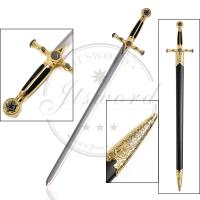 33.5 Inch Antique Masonic Sword , Templar Knight Sword With Scabbard Manufactures