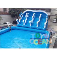 Giant Blue Inflatable Play Park / Inflatable Theme Park With 4 Lanes Slide Manufactures