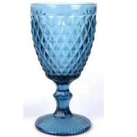 China Factory direct European goblet color embossed wine glass hotel party creative goblet banquet goblet on sale