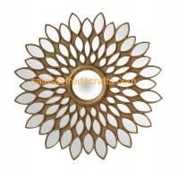 China Factory Beautiful Sunflower Design MDF Framed Wall Hanging Mirror For Living Room Decor Manufactures