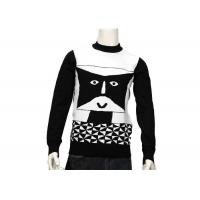 Striped Jumper Modern Mens Knit Sweater Winter Cotton Long Sleeve Anti - Wrinkle Manufactures