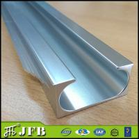 China Pull handle edge banding frame aluminum profiles for kitchen cabinet door, Light grey finish on sale