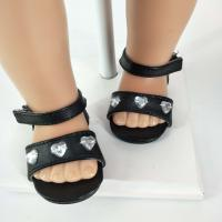 black sandals doll shoes 18 inch girl doll shoes Manufactures