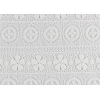 China Polyester Water Soluble Lace Fabric With Linear Lace Designs For Ladies Party Dress on sale