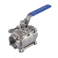 Three Piece Plumbing Ball Valve , Stainless Steel 316L  Water Supply Ball Valve Manufactures
