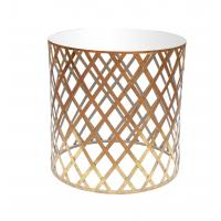 Round coffee table with iron line weave decoration top in mirror gold leaf color Manufactures