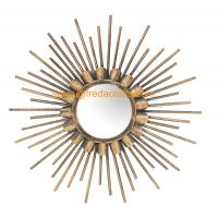 China Factory Good Price Gold Finish Sunburst Decorative Wall Mirror For Home Decor Manufactures
