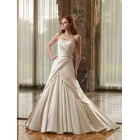 A-line Strapless Sleeveless Court Train Satin Wedding Bride Dress with Ruffles and Beading Manufactures