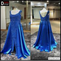 China Surmount Real Pictures Custom Made Scoop Neck A Line Sleeveless Long Blue Maxi Dresses on sale