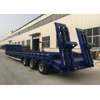 3 Axles 80 Tons 17m Hydraulic Flatbed Trailer For Loading Construction Machines Manufactures