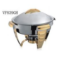 Gold Accented Round Soup Chafing Dish Buffet Set For Hotel / Restaurant