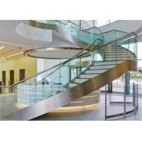 Apartment Building Curved Stairs Wood Tread Stainless Steel Railing Syestem Manufactures