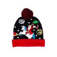 LED Jacquard Cable Knitted Warm Bobble Hat Soft Women Christmas Beanie With Pompom Manufactures