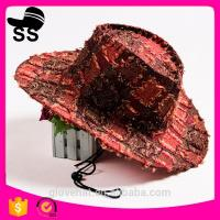 2017 new style hot sale checked 100% Wool feel 57cm 60g YIWU china cloth plaid beach bucket cowboy summer straw hats Manufactures