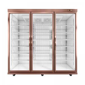 1700L Upright 3 Glass Door Display Freezer For Frozen Food / Dumpling Manufactures