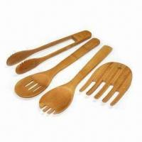 Buy cheap Bamboo Salad Serving Set, Includes Tong, Fork, Salad Spoon and Hand from wholesalers