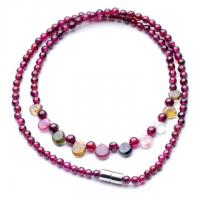 Pure natural garnet round bead + natural tourmaline necklace The rain princess necklace Manufactures