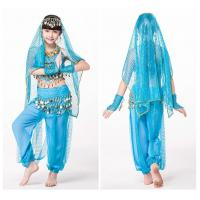 Blue Lightweight Soft Childrens Belly Dance Costume Set Comfortable Manufactures